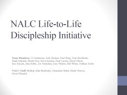 NALC Life-to-Life Discipleship Initiative