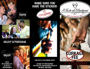 Progra CORKAGE FEE Taste Select WITH NO CORKAGE FEE AT