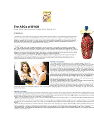 HOME ADVERTISE DISTRIBUTION ARCHIVE The ABCs of BYOB B
