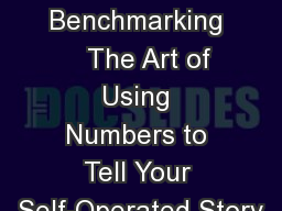 Benchmarking    The Art of Using Numbers to Tell Your Self-Operated Story