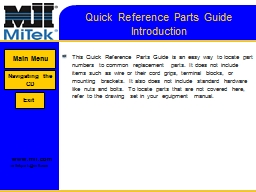 Quick Reference Parts Guide