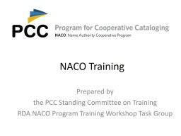 NACO Training Prepared by