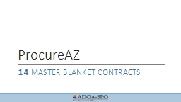 ProcureAZ 14  Master blanket Contracts