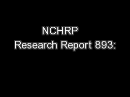 NCHRP   Research Report 893: