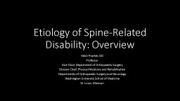Etiology of Spine-Related Disability: Overview