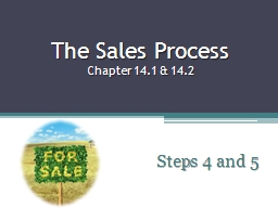 The Sales Process Chapter 14.1 & 14.2