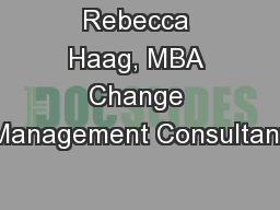 Rebecca Haag, MBA Change Management Consultant