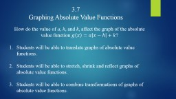 3.7 Graphing Absolute Value Functions