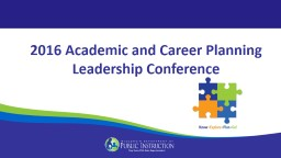 2016 Academic and Career Planning Leadership Conference