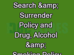 ISNZ Seminar Search & Surrender Policy and Drug, Alcohol & Smoking Policy