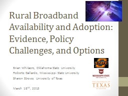 Rural Broadband Availability and Adoption: Evidence, Policy Challenges, and Options