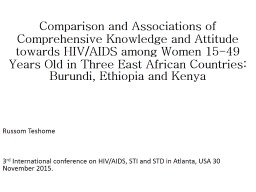 Comparison and Associations of Comprehensive