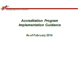 Accreditation Program  Implementation Guidance