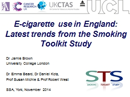 E-cigarette use in England: Latest trends from the Smoking Toolkit Study