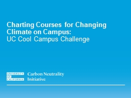 Charting Courses for Changing Climate on Campus: