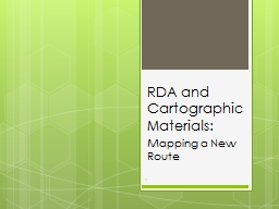 RDA and Cartographic Materials