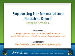 Supporting the Neonatal and Pediatric Donor