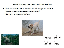 Ritual:  Primary mechanism of cooperation