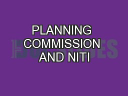 PLANNING COMMISSION AND NITI