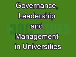 1 Governance, Leadership and Management in Universities
