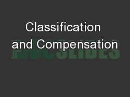 Classification and Compensation