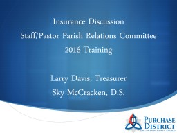 Insurance Discussion Staff/Pastor Parish Relations Committee