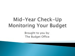 Mid-Year Check-Up Monitoring Your Budget