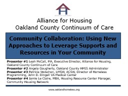 Alliance for Housing  Oakland County Continuum of Care