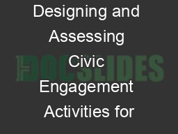 Designing and Assessing Civic Engagement Activities for