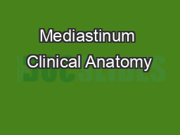 Mediastinum Clinical Anatomy