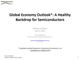 Global Economy Outlook*: A Healthy Backdrop for Semiconductors