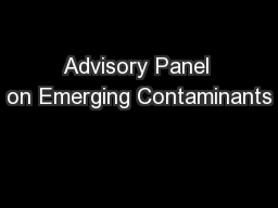 Advisory Panel on Emerging Contaminants