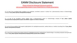 EANM  Disclosure  Statement