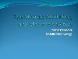 The Moniac, Modeling, and
