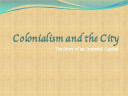Colonialism and the City