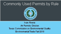 Commonly Used Permits by Rule