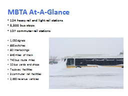 MBTA At-A-Glance 124 heavy rail and light rail stations