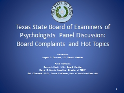 Texas State Board of Examiners of Psychologists Panel Discussion: