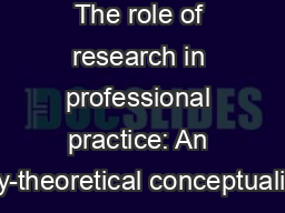 The role of research in professional practice: An activity-theoretical conceptualisation