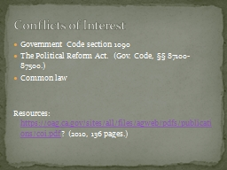 1 Overview of the statutes and case law governing conflicts of interest.