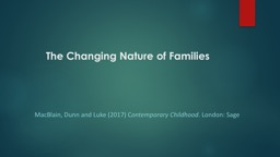 Chapter 5 The  Changing Nature of Families