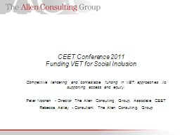 CEET Conference 2011 Funding VET for Social Inclusion PowerPoint PPT Presentation
