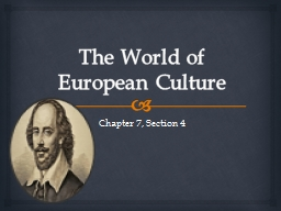 The World of European Culture