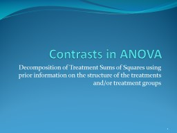 Contrasts in ANOVA Decomposition of Treatment Sums of Squares using prior information on the struct