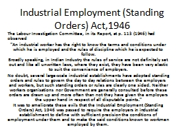Industrial Employment (Standing Orders) Act,1946 PowerPoint PPT Presentation