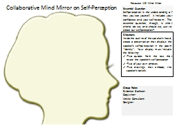Essential Question Self-perception is the understanding of how you see yourself.  It includes your