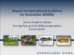Report on Operational Activities for Nonnative Wildlife