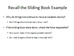 Recall the Sliding Book Example