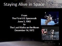 Staying Alive in Space From