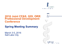 2016 Joint CFAS, GDI, ORR Professional Development Conference